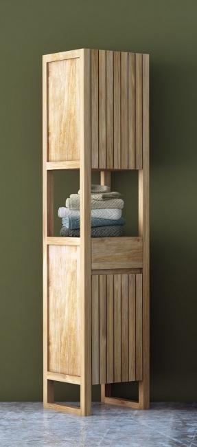 achat colonne de salle de bain teck azura equip e de 2 portes et d 39 un tiroir hauteur 185 cm. Black Bedroom Furniture Sets. Home Design Ideas