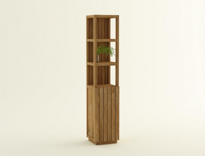 Les colonnes pour la salle de bain en bois exotique le teck