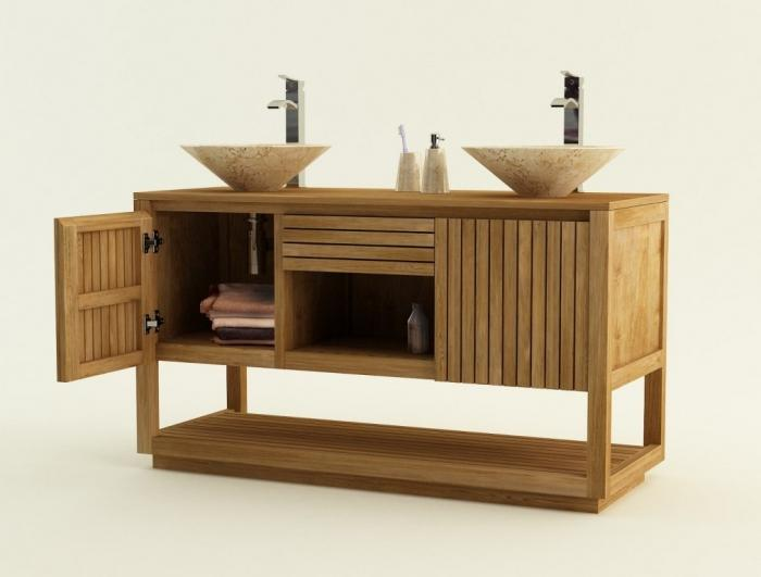 achat vente meuble de salle de bain teck varese meuble en teck salle de bain. Black Bedroom Furniture Sets. Home Design Ideas