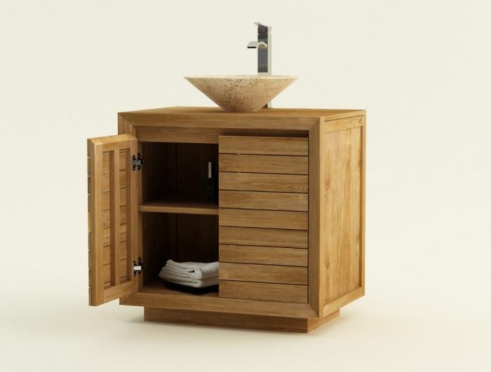 achat vente meuble de salle de bain teck monza meuble en teck salle de bain. Black Bedroom Furniture Sets. Home Design Ideas