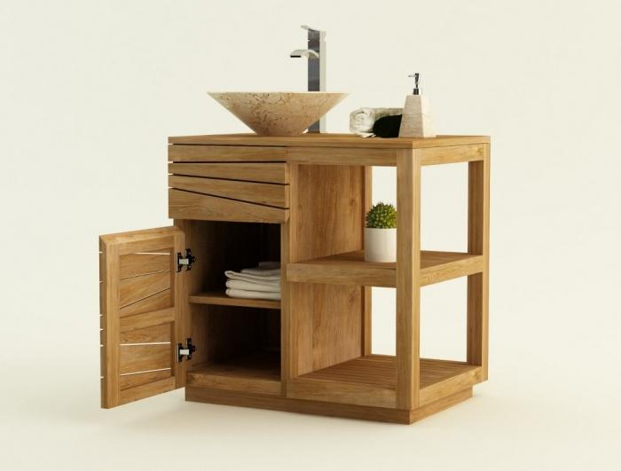 Achat vente meuble de salle de bain teck trevise meuble - Salle de bain tek ...