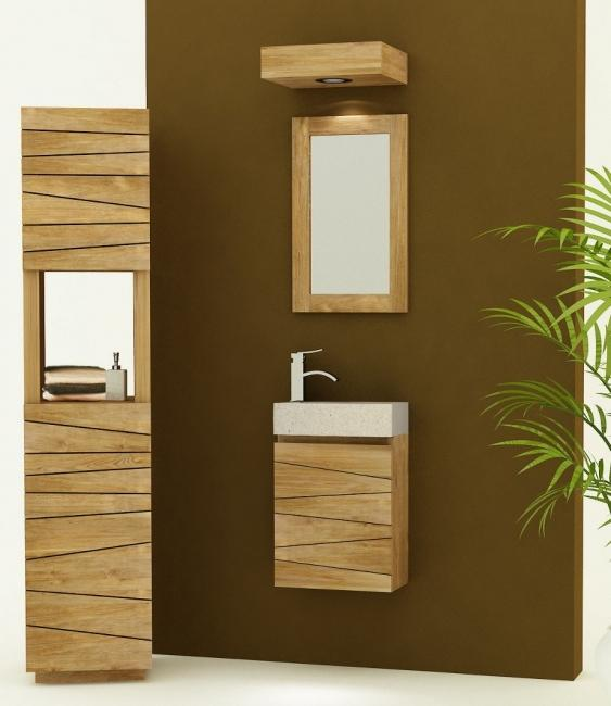 Meuble suspendre vesta vasque en terrazzo blanc for Meuble vasque salle de bain soldes