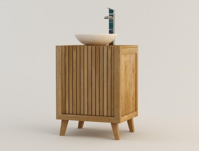 nos meubles avec lavabo intégré en teck : vasque simple - Meuble Salle De Bains Teck