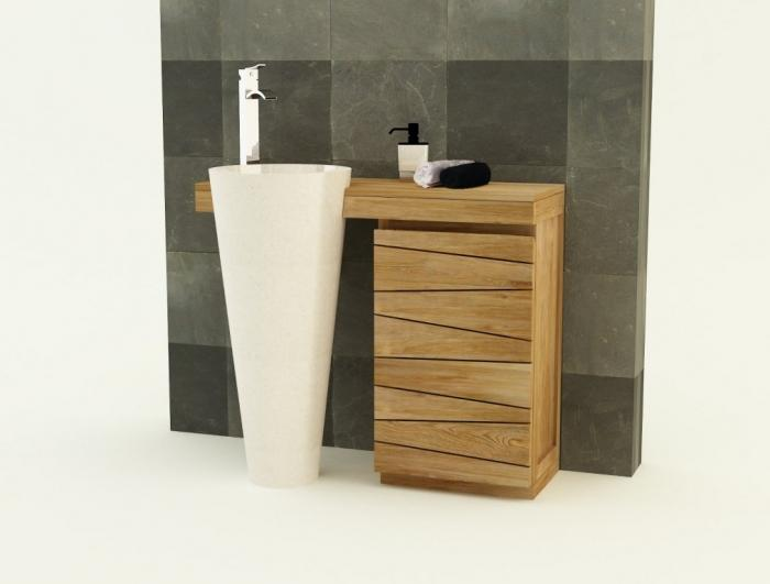 Achat meuble de salle de bain teck forti 100 cm simple vasque meuble en teck - Meuble de salle de bain en solde ...