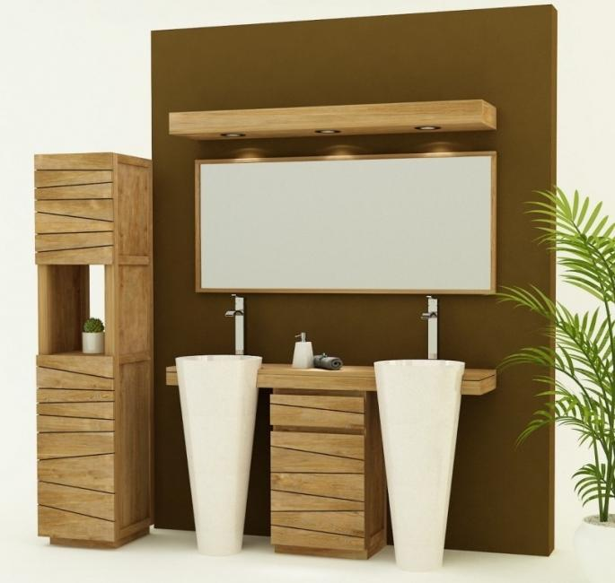 achat vente meuble de salle de bain teck forti 150 cm. Black Bedroom Furniture Sets. Home Design Ideas