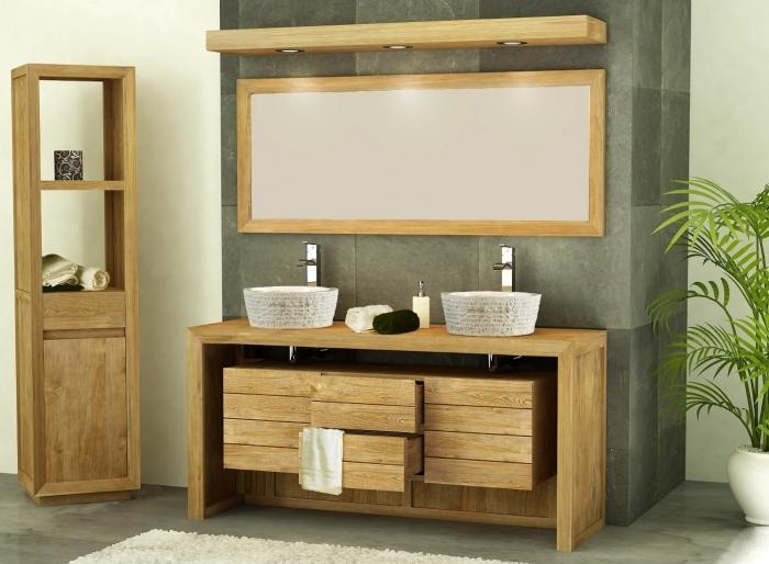 meuble de salle de bain groix l160 2 portes 2 tiroirs en teck - Meuble Double Vasque A Poser 2