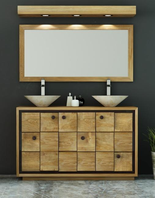 Achat vente meuble de salle de bain teck merida meuble en for Meuble de salle de bain en teck solde