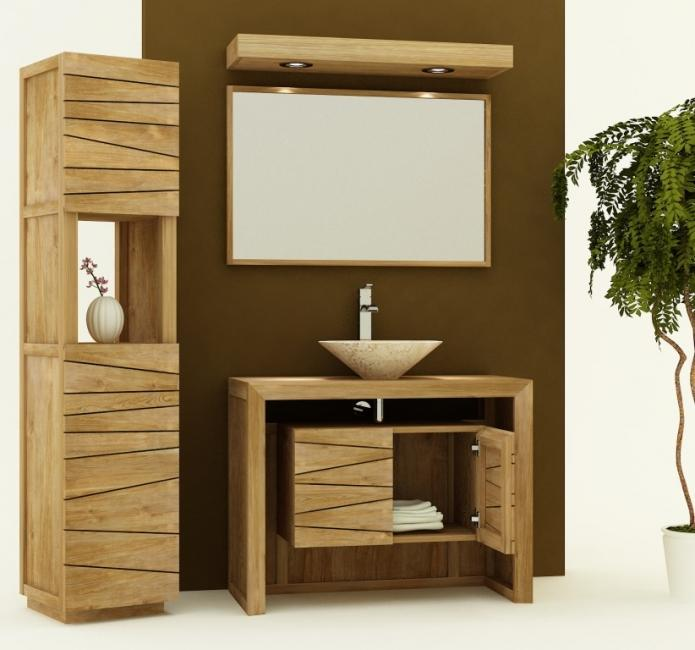 Achat vente meuble de salle de bain teck nova 100 meuble en teck salle de bain - Meuble de salle de bain en 100 cm ...