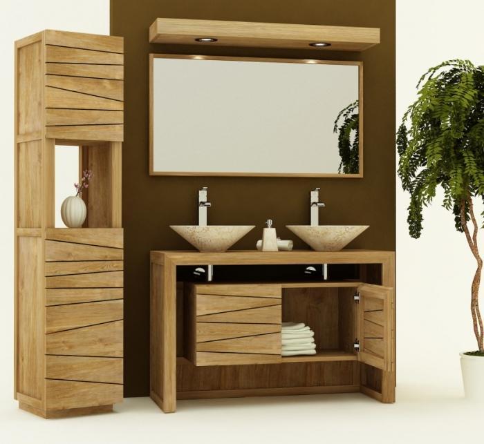 meuble salle de bain teck 120. Black Bedroom Furniture Sets. Home Design Ideas