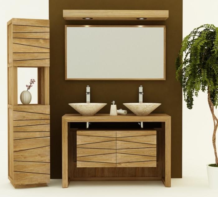 Achat vente meuble de salle de bain teck nova 120 meuble - Creation meuble salle de bain ...