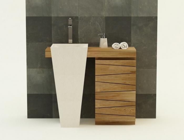 Meuble de salle de bain SALERNE L100 cm en teck - BLANC