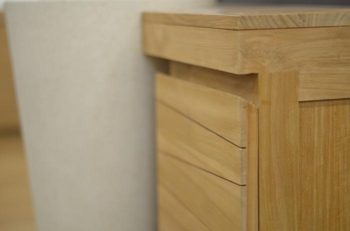 Achat vente meuble de salle de bain teck salerne simple for Comment fixer une colonne de salle de bain au mur