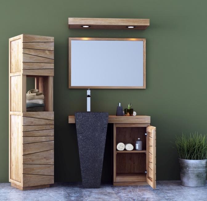 Meuble en teck pour vasque colonne int gr e salerne - Vasque salle de bain 100 cm ...