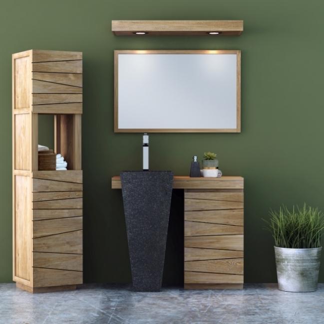 Meuble de salle de bain SALERNE L100 cm en teck vasque Noire