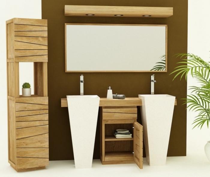 meuble de salle de bain salerne l160 cm en teck - Meuble Salle De Bain Bois 1 Vasque