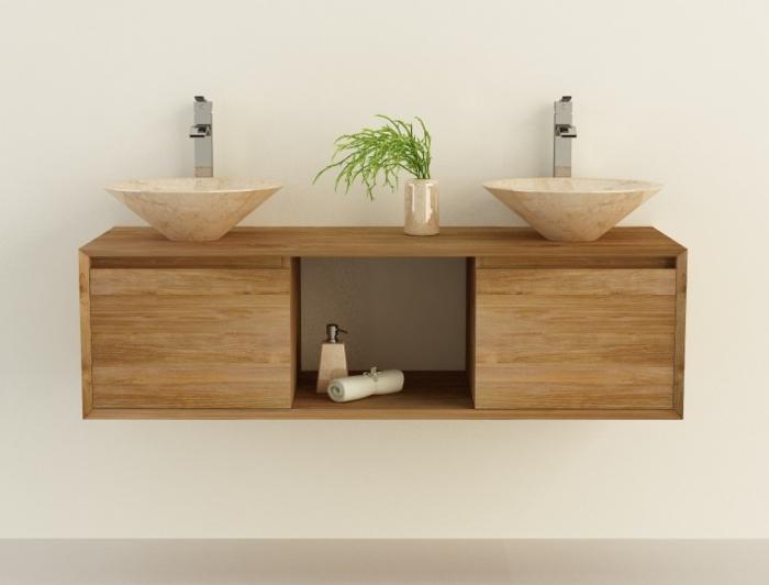 Achat meuble de salle de bain en teck suspendre aprila for Salle de bain 2 meubles