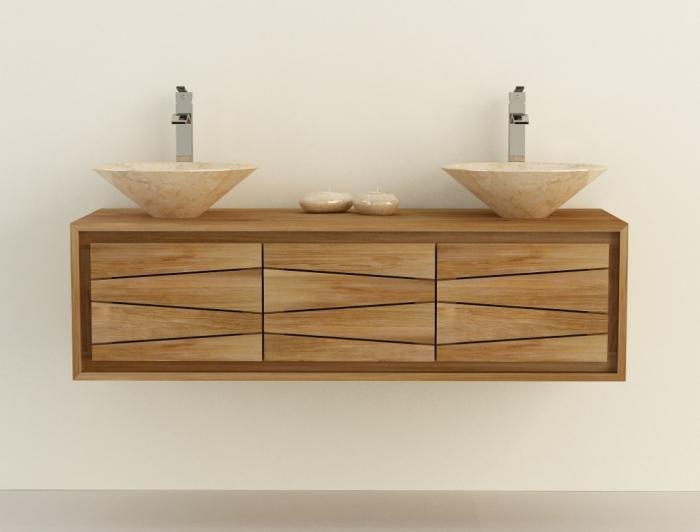 Achat meuble de salle de bain en teck suspendre aquila for Meuble de salle de bain 150 cm