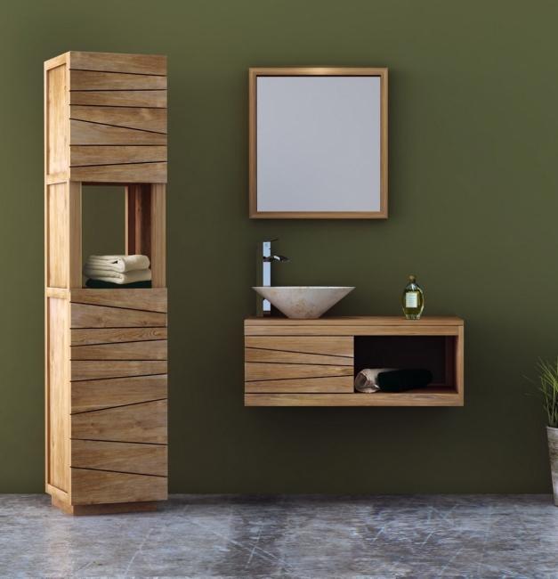 Meuble de salle de bain teck à suspendre EDONA L90 cm