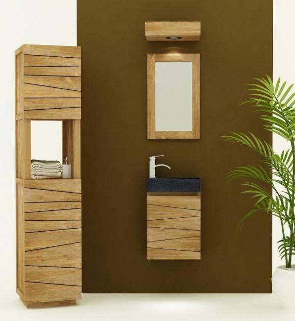 Meuble de salle de bain en teck suspendre vesta petit for Meuble a suspendre pour salle de bain
