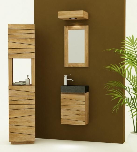 Meuble de salle de bain teck à suspendre VESTA L40 cm - vasque NOIRE -  SENTANI