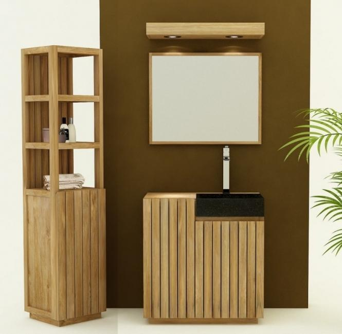 meuble de salle de bain teck tolede l80 cm vasque intégrée meuble en ...
