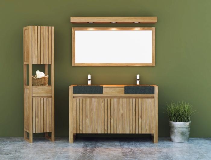 Meuble de salle de bain TERNI L140 cm en teck vasque noire