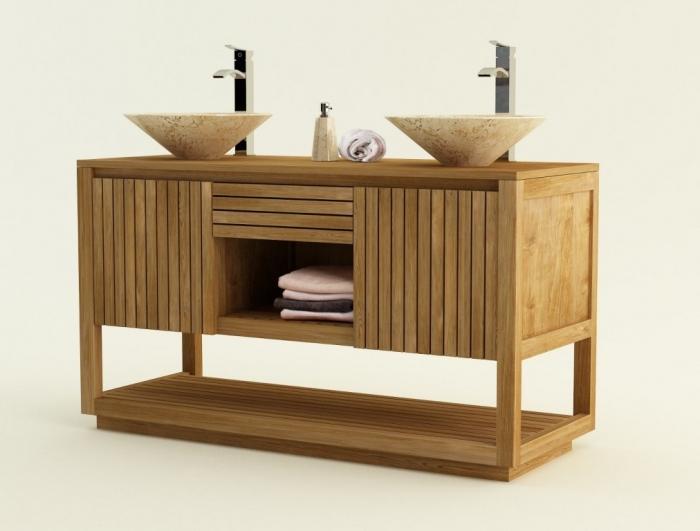 Achat vente meuble de salle de bain teck varese meuble en for Meuble salle de bain teck lapeyre