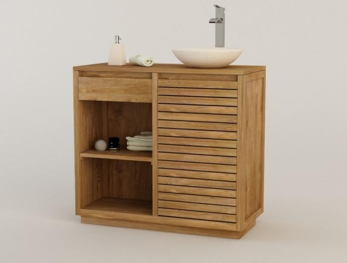 Achat vente meuble de salle de bain teck venetie meuble for Meuble de salle de bain en teck solde