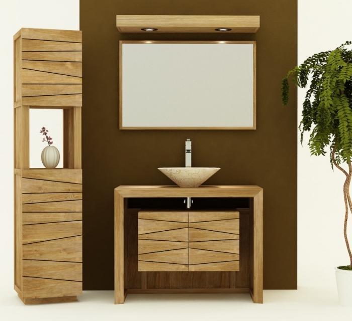 Achat vente meuble de salle de bain teck nova 100 meuble en teck salle de bain - Salle de bain achat ...