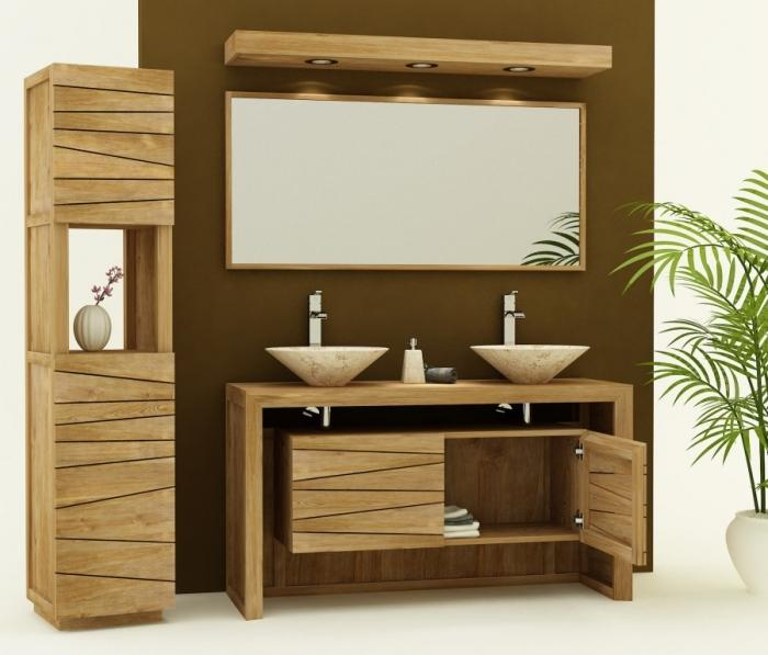 Best bain double vasque bois massif wenge contemporary for Evier double vasque salle de bain