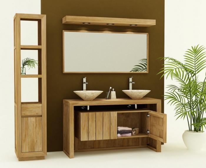Achat vente meuble de salle de bain teck reggio meuble en for Achat meuble de salle de bain