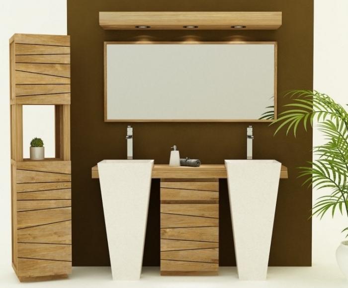 Achat vente meuble de salle de bain teck salerne meuble for Vente de salle de bain