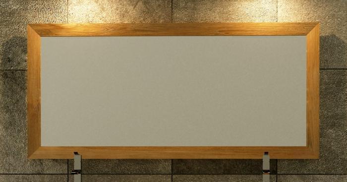 Miroir en teck rectangulaire WALK L140 x H65 - Naturel