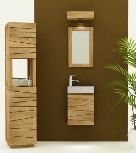 Meuble en teck et d coration pour salle de bain aqua edition for Petit meuble salle de bain a suspendre