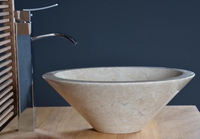 Vasque en marbre beige sanur vasque de salle de bain en for Vasque beige salle de bain