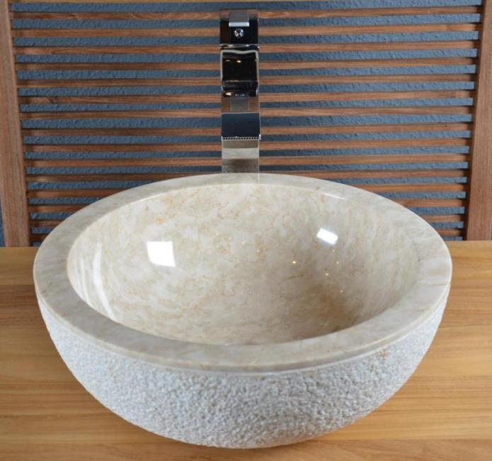Vasque en marbre beige crozon vasque de salle de bain en for Vasque beige salle de bain