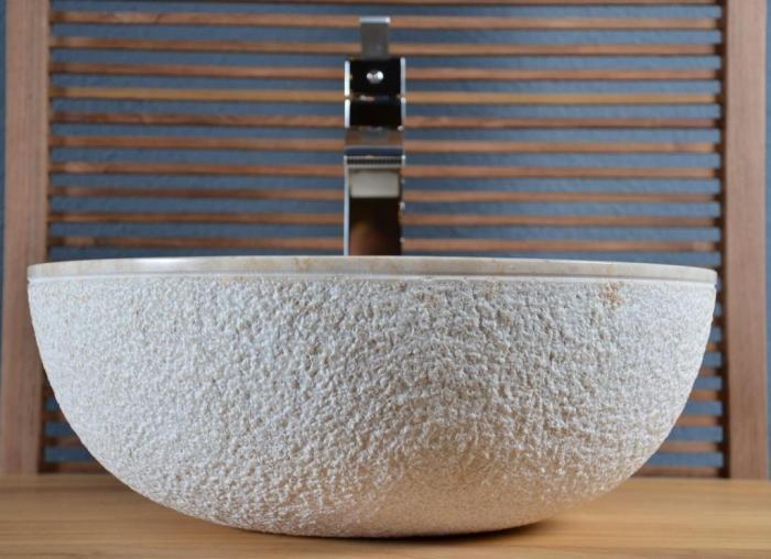 Vasque en marbre beige crozon vasque de salle de bain en for Accessoire salle de bain marbre